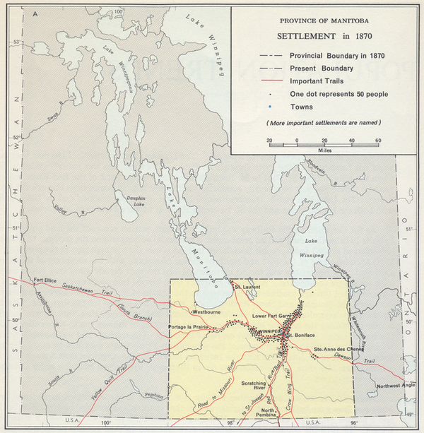 Province of Manitoba Settlement in 1870