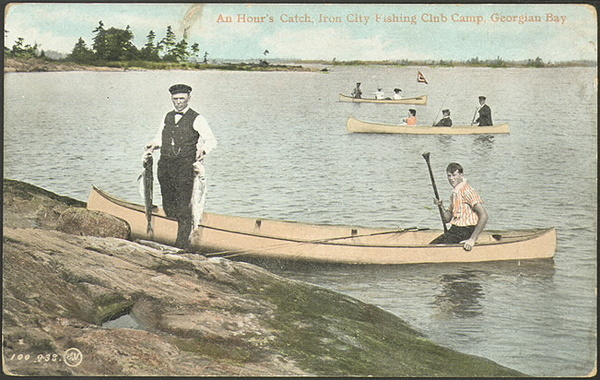 Original title:  An hour's catch, Iron City Fishing Club Camp, Georgian Bay  : Toronto Public Library
